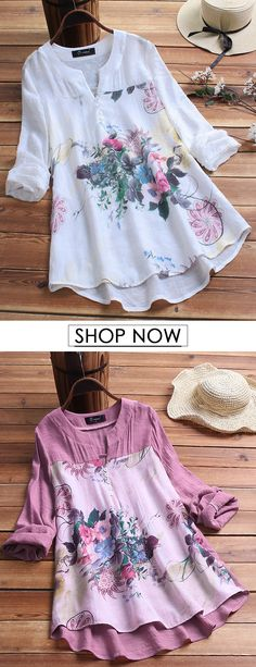 O-NEWE Vintage Print Patchwork Plus Size Blouse for Women can cover your body well, make you more sexy, Newchic offer cheap plus size fashion tops for women. Mode Outfits, Fashion Outfits, Fashion Styles, Fashion Clothes, Fashion Brands, Mode Ab 50, Sewing Clothes Women, Sewing Shirts, Professional Attire