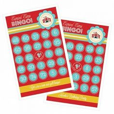Circus Carnival Birthday Party Bingo
