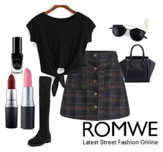 """~ Romwe (2)"" by moniquedawson09123 ❤ liked on Polyvore featuring mode, MAC Cosmetics en Inglot"
