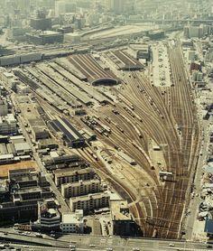 秘蔵  空から撮影記録 約30年前の梅田貨物駅 - akaの鉄道撮影日記
