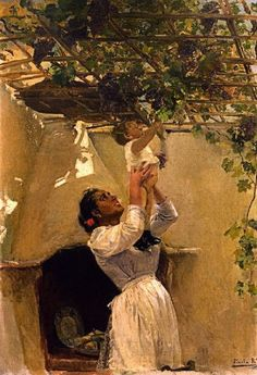 The Grapevine - Joaquin Sorolla i Bastida, 1897 Spanish, Oil on canvas, 94 cm in.) x 64 cm in. Spanish Painters, Spanish Artists, Paintings I Love, Beautiful Paintings, Figure Painting, Painting & Drawing, Illustration Art, Illustrations, Guache