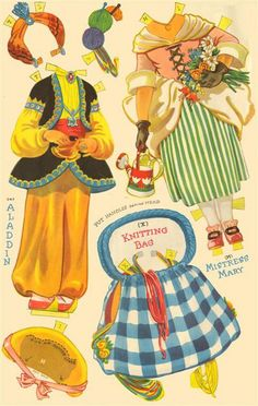POLLY and MOLLY in Fancy Dress Paper Dolls | Page includes Aladdin and Mistress Mary outfits and a knitting bag 4 of 11