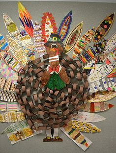 Decorate the feathers with different media and make one big turkey.