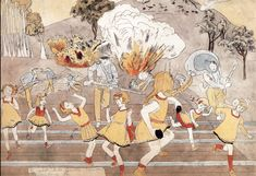 """Henry Darger: """"a shot hits Jennie ----- --- wounding her"""" The Vivian Girls are heroines and princesses of Abbiennia, an enormous nation on an unnamed planet of which earth is the moon. They are 7 immortal, yellow dressed, blond sisters, in a war provoked by the Glandelinians, a group of 'haughty' men who practice child enslavement. After ferocious battles and terrible bloodshed, the 7 sisters and the good Christian children of Abbiennia force the men to surrender."""