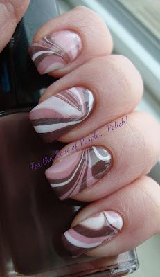 Pink & Brown Water Marble by For the Love of Purple. Nail Art Designs, Simple Nail Designs, Nail Polish Designs, Pink Nail Art, Cool Nail Art, Pink Nails, Hair And Nails, My Nails, Water Marble Nail Art