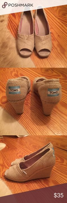 Toms Gold Barton Wedges Toms Gold Barton Wedges in great condition with box and dust bag. Toms Shoes Wedges