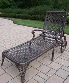 Relax in style this year with the Oakland Living Mississippi Cast Aluminum Chaise Lounge . With its intricate scrollwork and lattice design, this. Velvet Chaise Lounge, Patio Chaise Lounge, Chaise Lounges, Lounge Chairs, Mississippi, Square Side Table, Small Outdoor Spaces, Lattice Design, Bronze