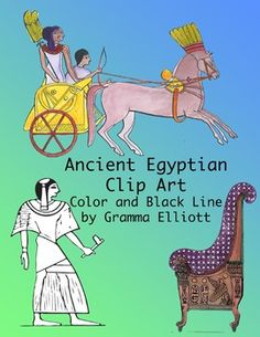 Ancient Egyptian Clip Art in Color and Black Line ArtWoman Embracing her husbands MummyBronze Figure of ApisEgyptian Easy ChairFuneralObeliskProphetQueen Aiding King in Temple ServiceSarcophagusShadoofWar ChariotMummy in BandsMusicians  Guitar  Harp  Double PipePapyrus ReedsSon of Ramses IIIScene with Pyramids and Nile River34 Clips  300 Dpi  .PNG  These images were originally scanned from the Chapter on Egypt in The Barnes General History, A Brief History of Ancient, Medieval, and Modern…