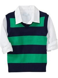 Rugby-Stripe Sweater Vests for Baby