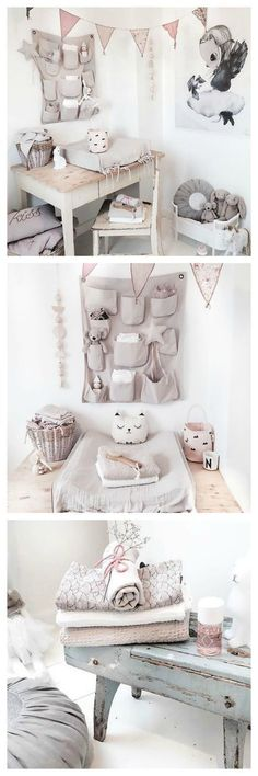 Girl's nursery in soft pink and grey