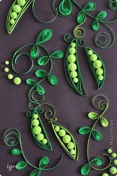 Картина панно рисунок Квиллинг Зеленые акценты для интерьера Серия панно с часами Бумага фото 10