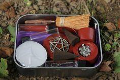 Kit de altar pagano, cuadro de altar de bolsillo, viajes altar altar portátil kit, kit de altar Wicca, conjunto de altar pagano, arrancador para los suministros Wiccas