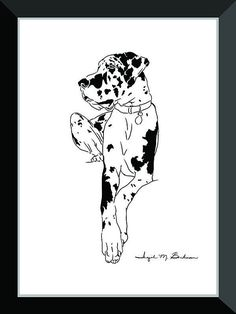 Dog wall art room by LineArtPrints. Im posting dog prints slowly but surely. Cute Dog Costumes, Dog Halloween Costumes, Weimaraner, I Love Dogs, Cute Dogs, Scary Movie Characters, Harlequin Great Danes, Dane Puppies, Doggies