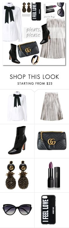 """Get the look pleats"" by vkmd ❤ liked on Polyvore featuring Dolce&Gabbana, Gucci, Gianvito Rossi, La Perla, Givenchy, Whiteley, Marni and pleats"
