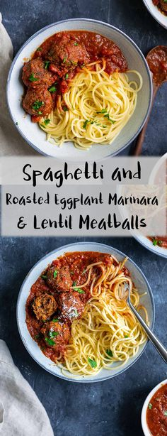 Enjoy your spaghetti with a red wine-infused marinara made with roasted eggplant and roasted garlic along with vegan lentil meatballs. Garnish with some vegan parmesan and minced parsley or fresh basil. | thecuriouschickpea.com