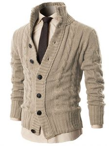 Black Friday Mens High-neck Twisted Knit Cardigan Sweater with Button Details Grey US L (Asia XL) Fashion Mode, Look Fashion, Winter Fashion, Mens Fashion, Fashion Outfits, Fashion Ideas, Strick Cardigan, Sweater Cardigan, Men Sweater