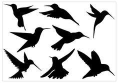 Humming bird Silhouette Clip Art Pack