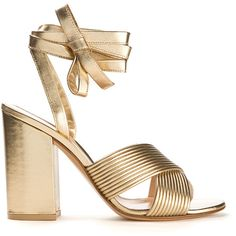 Gianvito Rossi Gold Leather Sandals (10 430 UAH) ❤ liked on Polyvore featuring shoes, sandals, heels, scarpe, block heel shoes, gold shoes, gold sandals, leather heeled sandals and leather sandals