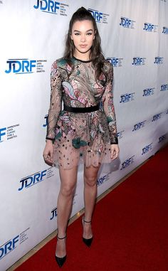Rainbow Flowers from Fashion Police  Hailee Steinfeld is splashed in pretty flowers at JRDF's Imagine Gala in a sheer, floral-embroidered Elie Saab mini paired with pointed stilettos. The singer and actress is quickly becoming a major style star in her own right and this sweet, little dress is extra evidence.