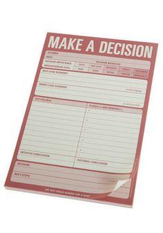 Make A Decision Notepad hahaha I think I need to get this!
