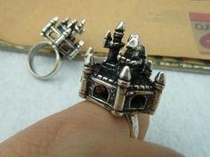 2pcs 17mm Antique Silver Castle Ring  c2699 by wangyang