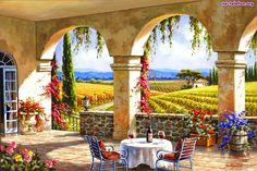 Stolik, Kwiaty, Krzesła, Winnice, Weranda, Widok, Dom