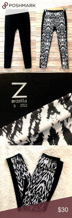 "Z by Zella black & white athletic leggings Z by Zella black & white print athletic leggings. Excellent condition, worn once. Inseam is about 25"". Waist is 12.5"" flat and unstretched. Zella Pants Leggings"