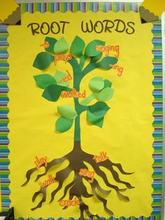 Put root words at bottom with roots and put examples in the tree/plant. Phonics Bulletin Board, Bulletin Board Tree, Teaching Language Arts, Classroom Language, Literacy Display, Interactive Learning, Interactive Display, Second Grade Writing, Plant Projects