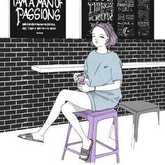 #소옹지 #일러스트 #일러스트레이션 #illustration #illust #photoshop #digitalart #digitalpainting #painting #fashionillustration #nike #purple #cafe