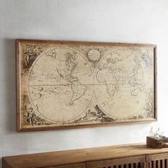 Pier 1 Imports Vintage Style World Map Framed Wall Decor
