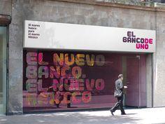 """""""el banco deuno by saffron brand consultants"""" Retail Facade, Shop Facade, Office Graphics, Window Graphics, Wayfinding Signage, Signage Design, Menu Design, Design Agency, Identity Design"""