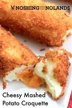 Cheesy Mashed Potato Croquettes by Noshing With The Nolands Potato Dishes, Food Dishes, Side Dishes, Tapas, Potato Croquettes, Croquettes Recipe, Cheesy Mashed Potatoes, Baked Potatoes, Leftover Mashed Potatoes