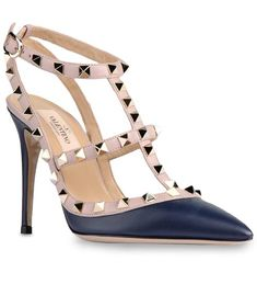 Valentino French Footwear Rockstud 100mm Dark Blue Leather T-Strap Sandal Pumps Best The Most Classic Best-Brand
