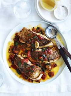 Neil Perry's sauté of snapper with fresh tomato and olive sauce.