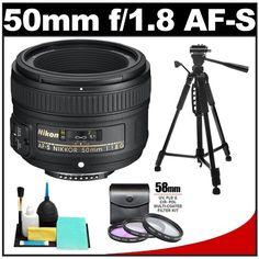 Nikon 50mm f/1.8 G AF-S Nikkor Lens with 3 (UV/FLD/CPL) Filter Set + Tripod + Accessory Kit for Digital SLR Cameras