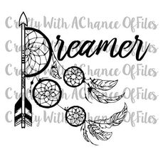 Dreamer Boho Feather Dream Catcher Tribal by CraftyWACofFiles. Dreamer SVG Dream…