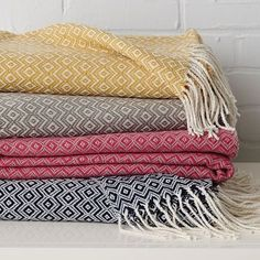 Snuggly jacquard throws.