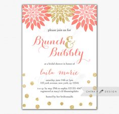 Brunch & Bubbly Bridal Shower Invitation - Printed, Pink Gold Glitter Wedding Invite Coral Baby Sprinkle Floral Mimosas - #075