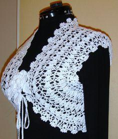 Stylish elegant bolero snow white for special by HandmadebyNadiyaK, Crochet Coat, Cotton Crochet, Crochet Cardigan, Cute Crochet, Crochet Clothes, Hand Crochet, Crochet Flower Patterns, Jacket Pattern, Crochet Fashion