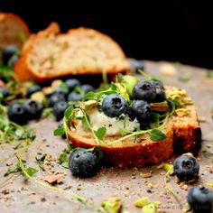 Blueberry and Roasted Pistachio Crostini