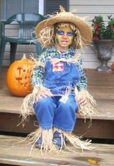 Halloween is high season for kid scarecrow costumes.  See more fun Halloween costumes and party ideas at one-stop-party-ideas.com