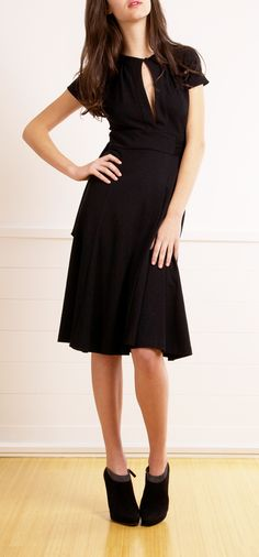 Black Wool Wrap Dress