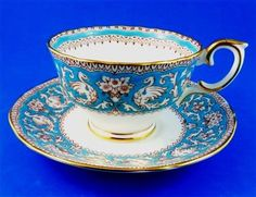 Pretty Blue Painted Ellesmere Crown Staffordshire Tea Cup and Saucer Set