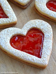 Linzer Heart CookiesLINZER HEART COOKIES (My Grandmother's Recipe)  , YOU WILL NEED 2 3/4 cup all-purpose flour 2 sticks (1 cup) plus 2 tbs unsalted butter, softened 2/3 cup granulated sugar 2 egg yolks 1/4 tsp salt Optional: Add 1/2 tsp pure vanilla extract or lemon zest to the dough Jam for filling (seedless raspberry, red currant or seedless strawberry) .  . DIRECTIONS  . 1. First, cream together the butter and sugar in your mixer. Once you have a smooth mixture, add in the salt and the…