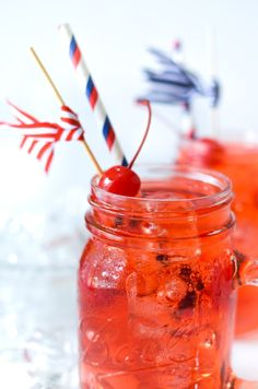 This fun, bold cherry pie cocktail recreates the classic American dessert in liquid form, making it a perfect Fourth of July cocktail. Red Sangria Recipes, Cocktail Recipes, Cocktail Drinks, Drink Recipes, American Cocktails, Strawberry Wine, American Desserts, Fruit Drinks, Beverages