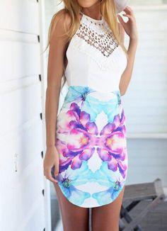 robe dos nu floral creux à bretelle -blanc  12.58