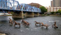 Cancer Survivor's River Horse Sculptures Symbolize Perseverance : Grand Rapids Michigan