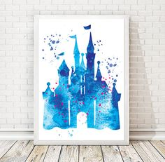Disney Castle Watercolor Art Print Disney Cinderella castle nursery Birthday gift New Baby room Fairytale painting Disney magic poster print