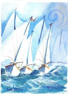 """""""BONNIE'S REGATTA"""" - A watercolor by Ed Carlson"""