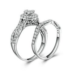 Cubic Zirconia Inlaid 925 Sterling Silver Bridal Ring Set - USD $99.95